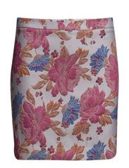 IGH-WAISTED SHORT SKIRT IN FLORAL PATTERNED FABRIC - Rose Flowers