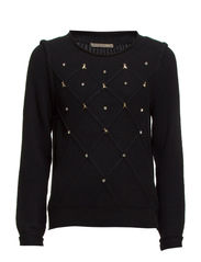 LONG SLEEVE WOOL MIX TOP - Black