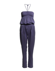LONG DOUBLE-FABRIC JUMPSUIT - Ocean Indigo