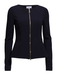 COLLARLESS JACKET IN FEMININE CUT IN LIGHT STITCHED JERSEY - Dress Blue