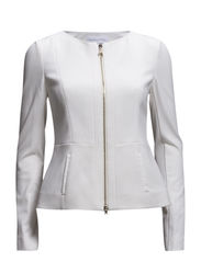 COLLARLESS JACKET IN FEMININE CUT IN LIGHT STITCHED JERSEY - Natural