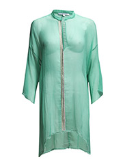 MINI-KAFTAN DRESS IN SILK CHIFFON - Aquamarine