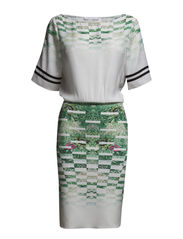 KNEE-LENGTH DRESS IN TECHNICAL JERSEY WITH SHADED PRINT - XN02