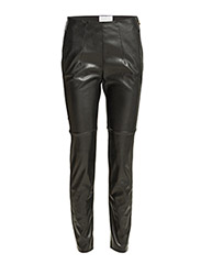 WASHED ECO-LEATHER HIGH-WAISTED TROUSERS - Nero