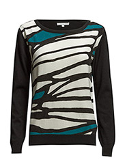 LONG SLEEVE WOOL AND CASHMERE CREW NECK PULLOVER - White/Black Geom BLK