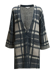 MOHAIR-BLEND PRINTED CARDIGAN WITH LONG SLEEVES - Check white&blue