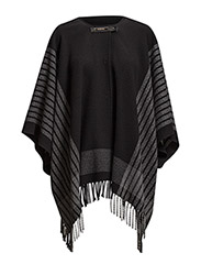 CAPE COAT PATTERNED FABRIC WITH FRINGE - Black/Gray Stripes