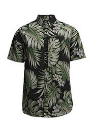 Mens LEATHBRIDGE Short Sleeve Shirt - Black palm