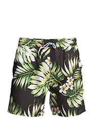 Mens SEAL SWIMMER Printed Short - Black palm