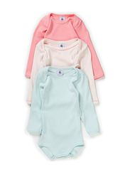 3-pack Longsleeved Body - pink/mint/wine
