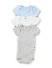 3-pack Shortsleeved Body - white/grey/l.blue