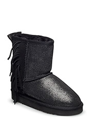 TEDDY BOOT W. FRINGES - BLACK W. SILVER