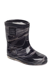 Rubber boot w. lining baby - GREY ARMY