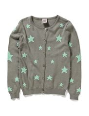 Viscose cardigan w. stars - L.green