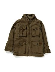 long jacket w. hood - green army