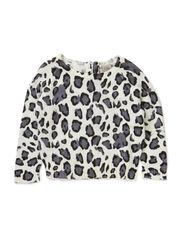 Knit jumper w. leopard print - O-WHT PRIN