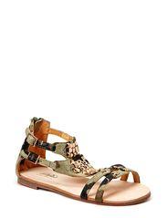 suede sandal w. studs - army