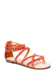 leather sandal w. studs - coral