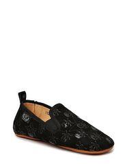 Textile indoors shoe w. skull - Black