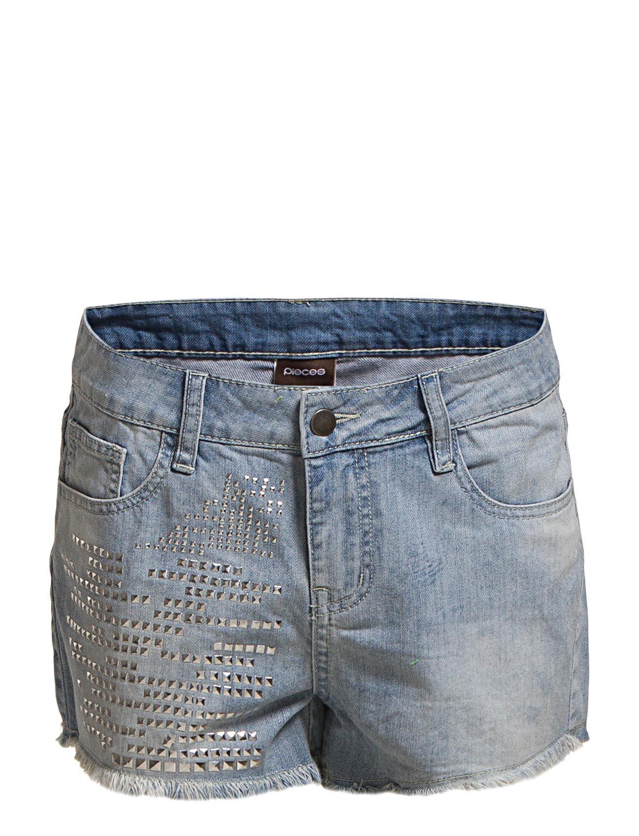 Funky Gwen Stud Shorts/Light Blue Denim