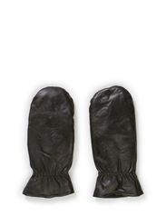 DASIC LEATHER MITTENS - Black