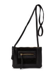 KISSA LEATHER CROSS OVER BAG - Black