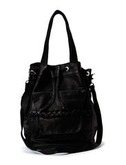 PCJOLANDA LEATHER TIGHTEN BAG - Black