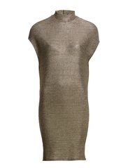 PCPILLY SL TURTLENECK DRESS EXP - Gold Colour