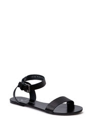 PSCARLA LEATHER SANDAL BLACK - Black
