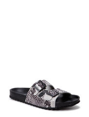 PSCASEY LEATHER SANDAL SNAKE BLACK - Black