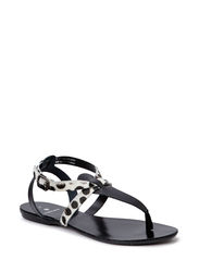 PSCATHIE LEATHER SANDAL LEOPARD  BLK - Black