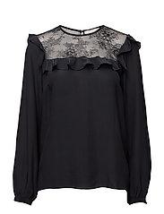 Hayley ruffle blouse - NAVY
