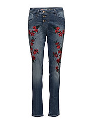C RED FLOWER EMBRO. - 5001 BLU DENIM