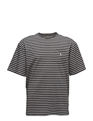 STRIPED COTTON POCKET T-SHIRT - SQUIRE HEATHER