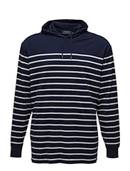 STRIPED COTTON JERSEY HOODIE - NEWPORT NAVY/WH