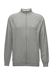 COTTON FULL-ZIP SWEATER - RUGBY HEATHER
