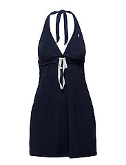 ICONIC TERRY COVERS GROMMET HALTER DRESS - RIVIERA NAVY