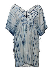 VOILE COVERUP TUNNEL SIDE TIE TUNIC - BLUE/WHITE