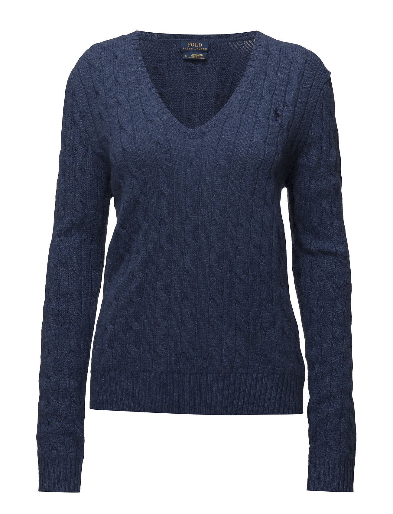 Wool-blend Cable-knit Sweater (Shale Blue Heathe) (£77.35) - Polo ...