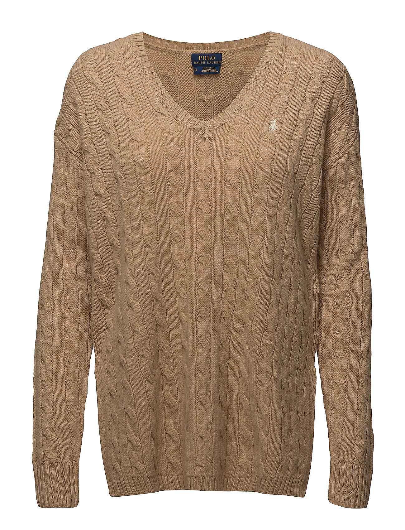 Cable-knit Side-slit Sweater (Camel Melange) (£83.85) - Polo Ralph ...