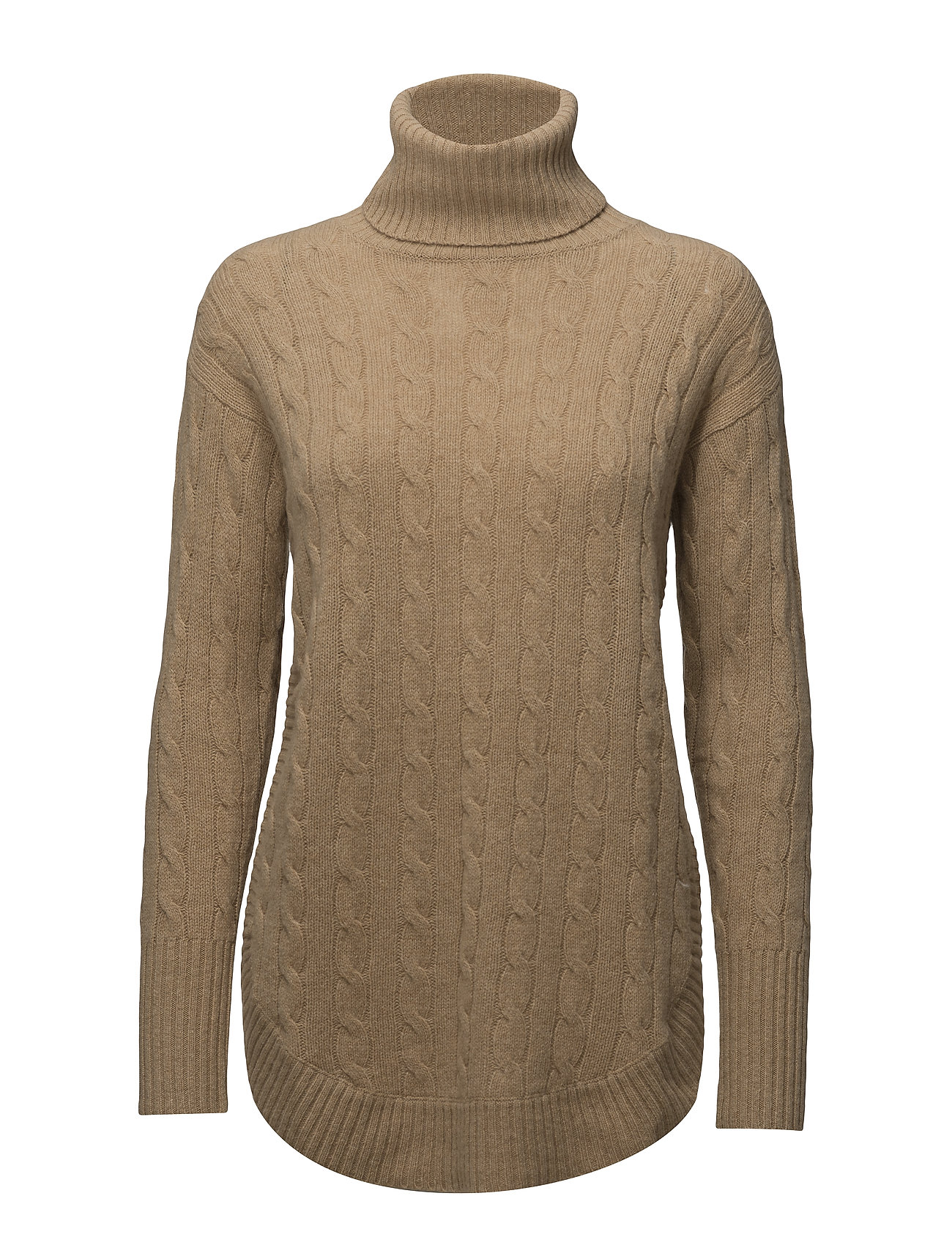 Turtleneck Cable-knit Sweater (Camel Melange) (£145) - Polo Ralph ...