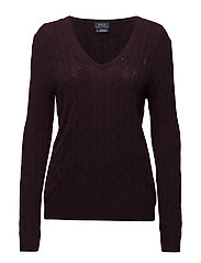 Wool-Blend Cable-Knit Sweater - AGED WINE