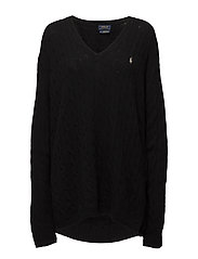 Cable-Knit Side-Slit Sweater - POLO BLACK