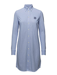 KNIT OXFORD SHIRTDRESS - HARBOR ISLAND BLUE