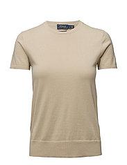 Cotton Short-Sleeve Sweater - TAN