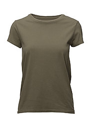 Cotton Crewneck T-Shirt - BASIC OLIVE