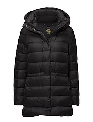 Hooded Funnelneck Down Coat - POLO BLACK