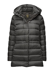 Hooded Mockneck Down Jacket - MAGNUM GREY