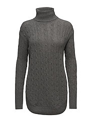 Turtleneck Cable-Knit Sweater - ANTIQUE HEATHER