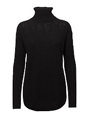 Turtleneck Cable-Knit Sweater - POLO BLACK